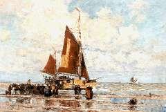 Hambüchen W. - Strandgezicht, Katwijk, olieverf op doek 45,4 x 65,2 cm , gesigneerd l.o.