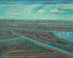 Breed D.C. - Panorama 3, olieverf op doek 40,2 x 49,8 cm , gesigneerd l.o.