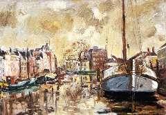 Walrecht B.H.D. - Het Schuitendiep, Groningen, olieverf op doek 55,7 x 76,5 cm , gesigneerd l.o.