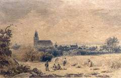 Koekkoek B.C. - Gezicht op Xanten (bij Kleef) vanaf een heuvel, inkt, pen en aquarel op papier 8 x 12,2 cm , gesigneerd l.o. en gedateerd 1842. Geschonken aan Stiftung B.C. Koekkoek-Haus