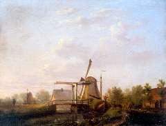Jacobsen A.G. - Gezicht op de Echtener molen bij Hoogeveen, olieverf op paneel 20,4 x 25,8 cm , gesigneerd m.o. en gedateerd 1858