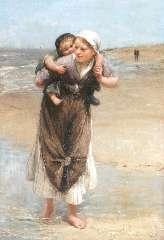 Blommers B.J. - Op zusjes rug langs het strand, olieverf op doek 65,2 x 45,3 cm , gesigneerd r.m.