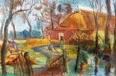 Leemhuis W.H. - Groninger boerderij, wasverf op doek 40,1 x 60,5 cm , gesigneerd l.o. en gedateerd '44