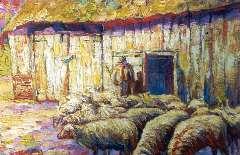 Kruijsen J. - Herder met schaapskudde in de zon, olieverf op doek 34,2 x 51 cm , gesigneerd l.o. en te dateren ca. 1915