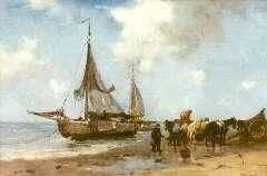 Scherrewitz J.F.C. - Het uitladen van de vangst, olieverf op doek 41 x 70 cm cm , gesigneerd r.o.