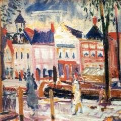 Martens G.G. - Gezicht op het Schuitendiep, wasverf op doek 48 x 48 cm , gesigneerd l.o. en gedateerd '27