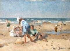 Soonius L. - Strandvermaak, olieverf op doek op paneel 18,4 x 24,1 cm , gesigneerd r.o. en gedateerd 1920