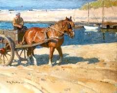 Sluiter J.W. - Schelpenkar bij De Uitwatering, Katwijk aan Zee, olieverf op doek 55,2 x 65 cm cm , gesigneerd l.o.