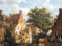 Koekkoek W. - Zonnig stadsvrachtje in IJsselstein, olieverf op doek 54,4 x 69,2 cm , gesigneerd r.o.
