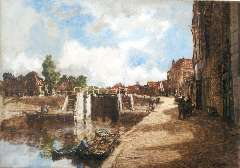 Mastenbroek J.H. van - Sluisje in Monnickendam, olieverf op doek 50,2 x 70,4 cm , gesigneerd r.o. en gedateerd 1937