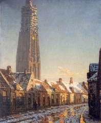 Bakels R.S. - Winters stadsgezicht in Amersfoort, met de 'Lange Jan', olieverf op doek 83,9 x 68,2 cm , gesigneerd r.o.