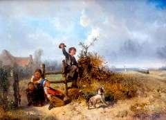 Kate J.M.H. ten - De stoomtrein komt voorbij, olieverf op paneel 30,5 x 41,2 cm , gesigneerd r.o. en gedateerd '64