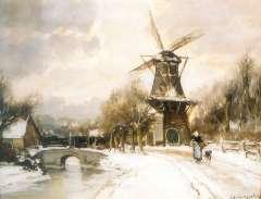 Apol L.F.H. - De Korenmolen op de Parkweg, Voorburg, aquarel en gouache op papier 43 x 54,2 cm , gesigneerd r.o.