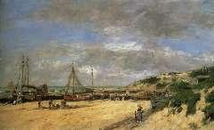 Boudin E.L. - Laag water bij Scheveningen, olieverf op doek 59,7 x 94,5 cm , gesigneerd r.o. en gedateerd 'Scheveningen '75'