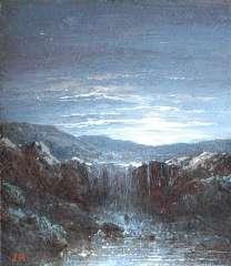 Hilverdink J. - Waterval bij maanlicht, olieverf op paneel 10,1 x 8,7 cm , gesigneerd l.o. met initialen en geschonken aan Kunsthal Rotterdam