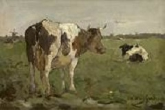 Weissenbruch H.J. - Koeien in een polderwei, olieverf op doek op paneel 14 x 20,5 cm , gesigneerd r.o.