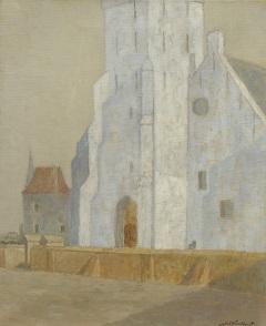 Windhorst J.C. - De Andreaskerk, Katwijk aan Zee, olieverf op doek 50,6 x 41,5 cm , gesigneerd r.o.