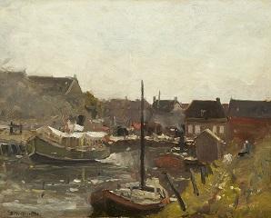 Munthe G.A.L. - De Zwaaikom in Katwijk met het Leidse bootje, olieverf op paneel 40 x 50 cm , gesigneerd l.o.