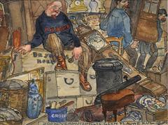 Leendert 'Leo' Gestel - Piet Boendermaker verhuist naar Huize De Klomp in Bergen: 'Zoo'n verhuizing is geen flauwekul', inkt en aquarel op papier 9 x 11,8 cm , gesigneerd r.o. en te dateren ca. 1918
