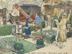 """Leendert 'Leo' Gestel - Piet Boendermaker verhuist naar Huize De Klomp in Bergen: 'De """"boel"""" komt aan', inkt en aquarel op papier 8,8 x 12,1 cm , gesigneerd l.o. en gedateerd 'Bergen' oct. 1918"""