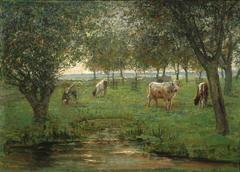 """Mondriaan P.C. - """"Weidende Kälbchen"""", Öl auf Leinen 50,2 x 69,3 cm cm, signiert l.u.und zu datieren 1902-1903"""