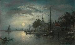 Jongkind J.B. - Clair de Lune, Dordrecht, olieverf op doek 40,3 x 65,6 cm, gesigneerd r.o. en gedateerd 1872