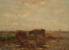 Maris W. - Grazende koeien in polderlandschap, olieverf op paneel 24,1 x 32,6 cm , gesigneerd r.o.