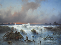 Hilverdink J. - The bursting of the Grebbedijk on March 5th 1855, oil on panel 37.1 x 50.1 cm, gesigneerd r.o. and dated 1855