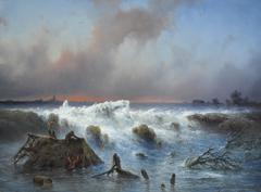 Hilverdink J. - De dijkdoorbraak in de Grebbedijk op 5 maart 1855, olieverf op paneel 37,1 x 50,1 cm , gesigneerd r.o. en gedateerd 1855