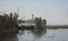 Gabriel P.J.C. - Turftrekker met schuit in een polderlandschap, olieverf op doek 28,6 x 46,5 cm, gesigneerd r.o.