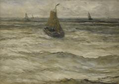 Mesdag H.W. - Binnenkomende bom, aquarel op papier 53 x 73,5 cm, gesigneerd r.o.