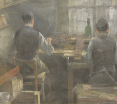 Faure M.J.A. - Sigarendraaiers, gouache op papier 38 x 42 cm , gesigneerd r.o. J.