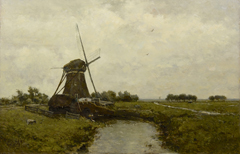Gabriel P.J.C. - Poldermolen bij Leidschendam, olieverf op paneel 39,4 x 60 cm , gesigneerd l.o.