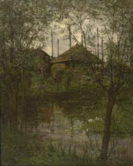 Mondriaan P.C. - Hooimijt met wilgenbomen, olieverf op doek 63,3 x 51,9 cm cm , gesigneerd r.o. en te dateren ca. 1897-1898