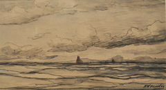 Mesdag H.W. - Fishing boats at sea, black chalk on paper 18 x 34.2 cm, signed l.r.