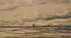 Mesdag H.W. - Zee met bomschuiten in de verte, zwart krijt op papier 18 x 34,2 cm , gesigneerd r.o.