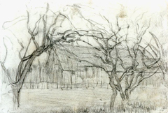 Mondriaan P.C. - Boerderij achter bomen, krijt op papier 11,7 x 16,8 cm, te dateren ca. 1905