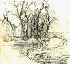 Mondriaan P.C. - Boerderij bij Duivendrecht; detailstudie van de rechterhelft, zwart krijt op papier 13,6 x 15 cm, te dateren ca. 1905