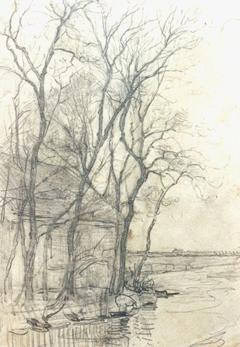 Mondriaan P.C. - Boerderij bij Duivendrecht; detailstudie van de schuur, potlood op papier 16,6 x 11,7 cm cm , te dateren ca. 1905