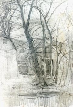 Mondriaan P.C. - Boerderij bij Duivendrecht; detailstudie van schuur en water, potlood op papier 16,7 x 11,7 cm, te dateren ca. 1905