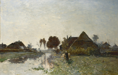 Gabriel P.J.C. - Ochtendstemming bij Veenendaal, olieverf op doek 66 x 101,5 cm, gesigneerd r.o. en te dateren begin jaren 60