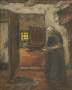 Robertson S. - Milk for the cat, pastel on paper 55.4 x 45.4 cm, signed l.r.