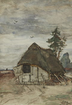 Mesdag-van Houten S. - Sheepfold in Drenthe, watercolour on paper 27.1 x 19 cm, signed l.r. with initials
