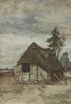 Mesdag-van Houten S. - Schaapskooi in Drenthe, aquarel op papier 27,1 x 19 cm, gesigneerd r.o. met initialen