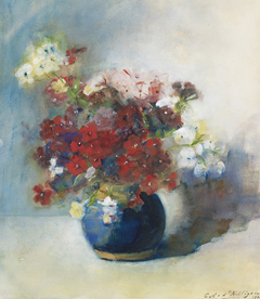 Willigen C.A. van der - Flowers in blue vase, watercolour on paper 42 x 37.5 cm, signed l.r. and dated 1902