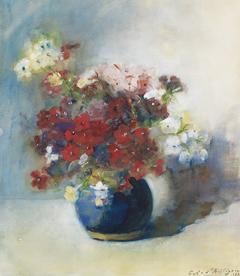 Willigen C.A. van der - Bloemen in blauwe pot, aquarel op papier 42 x 37,5 cm, gesigneerd r.o. en gedateerd 1902