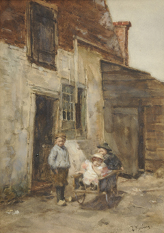 Kerling A.E. - Kinderen spelen met een duwkar, aquarel op papier 38,4 x 27,6 cm, gesigneerd r.o.