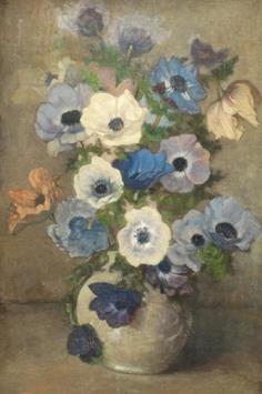 Wandscheer M.W. - Anemonen in witte vaas, olieverf op doek op board 60,7 x 41 cm, r.o. met initialen