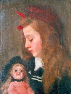 Wandscheer M.W. - Henriëtte Thueré met pop, olieverf op doek 41,4 x 31,5 cm, gesigneerd l.b. (deel van signatuur)