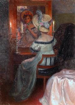Lenz M. - Voor de spiegel, olieverf op doek 110,5 x 80,3 cm, te dateren ca. 1910